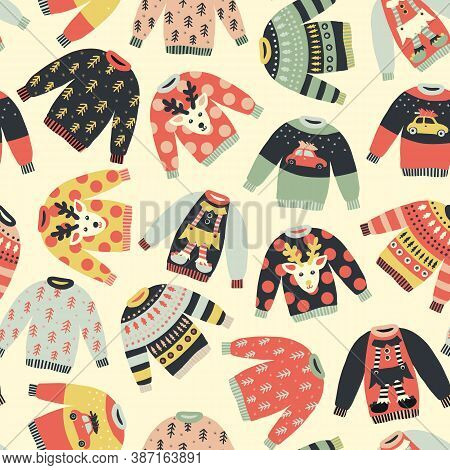 Seamless Pattern Ugly Christmas Sweaters. Repeating Vector Holiday Vintage Background. Knitted Winte