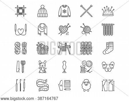 Knitting Flat Line Icons Set. Crochet, Hand Made Scarf, Wool Ball, Thread And Needle Vector Illustra