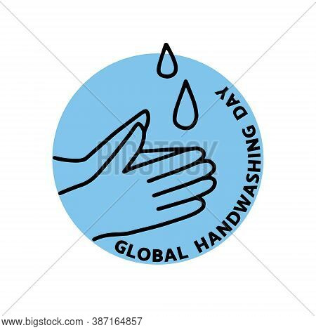 Vector Illustration On The Theme Of Global Hand Washing Day On October 15. Decorated With A Wash Han
