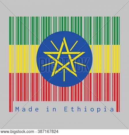 Barcode Set The Color Of Ethiopia Flag, Tricolor Of Green, Yellow And Red With The National Emblem.