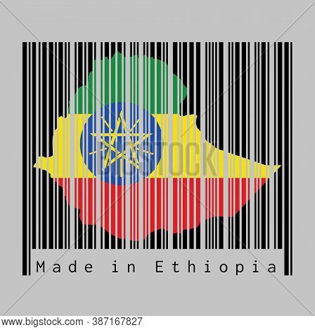 Barcode Set The Shape To Ethiopia Map Outline And The Color Of Ethiopia Flag On Black Barcode With G
