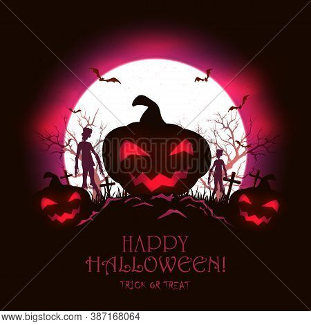 Black And Purple Night Background With Jack O' Lantern, Monsters And Bats. Scary Pumpkin And Zombies