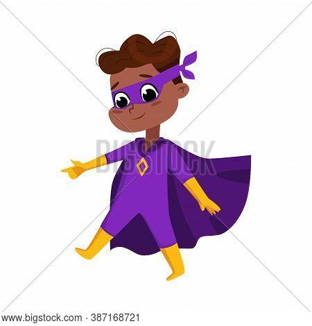 Cute African American Boy In Purple Superhero Costume And Mask, Adorable Kid Superhero Character Car