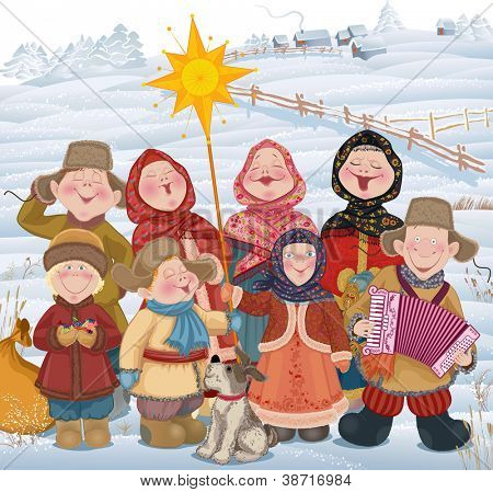 Young people and children in Russian village singing of Christmas carols in Christmastide