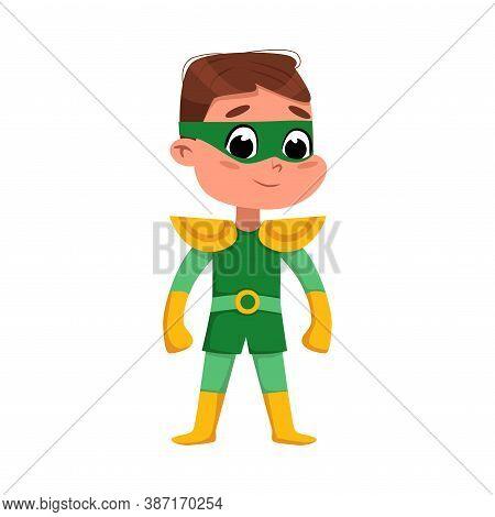 Cute Boy In Green Superhero Costume, Adorable Kid Character Standing In Superhero Pose Cartoon Style
