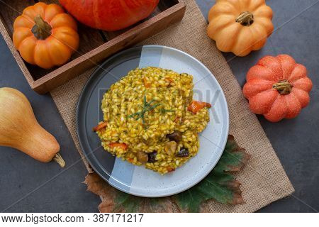 Home Made Autumn Risotto With Pumpkin And Chestnut