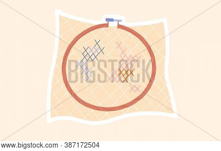 Wooden Hoop For Embroidery. Cross Stitch Hoop Icon, Frame Hoop For Needle Work, Cartoon Vector Illus