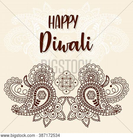 Diwali Festival Background Round Floral Ornament - Diwali Background Template With Floral Ornet