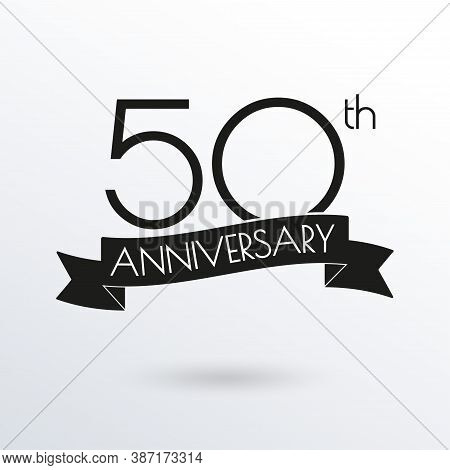 50 Years Anniversary Logo With Ribbon. 50th Anniversary Celebration Label. Design Element For Birthd