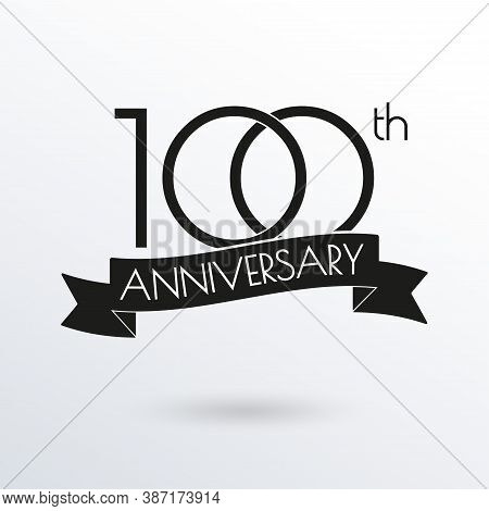 100 Years Anniversary Logo With Ribbon. 100th Anniversary Celebration Label. Design Element For Birt