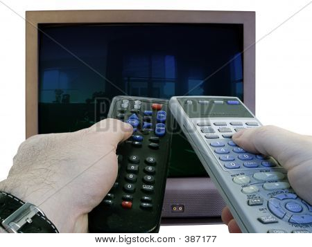Two Tv Remotes In Hand