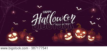 Banner With Halloween Pumpkins, Spiders And Bats On Purple Background. Holiday Card With Jack O' Lan