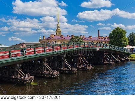 Saint-Petersburg, Russia - July 27, 2020: Bridge in Peter-Pavel's Fortress on Rabbit island.