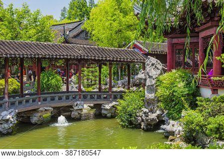 Shanghai, China - May 23, 2018: Yuyuan garden (Garden of Happiness) in center of Shanghai.