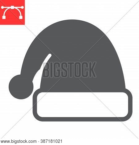 Santa Hat Glyph Icon, Merry Christmas And Xmas, Noel Hat Sign Vector Graphics, Editable Stroke Solid