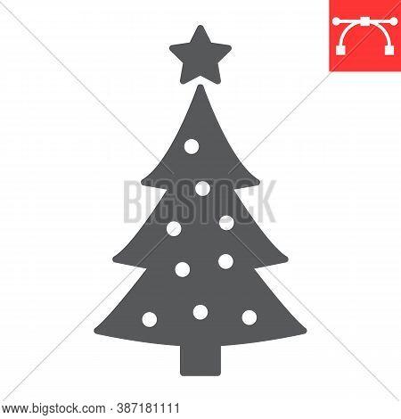 Christmas Tree Glyph Icon, Merry Christmas And Xmas, Fir Tree Sign Vector Graphics, Editable Stroke