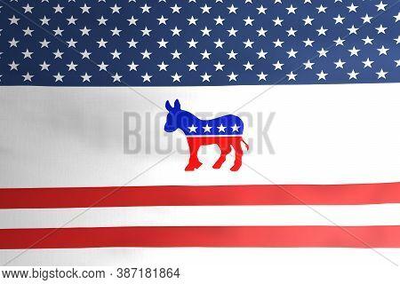 Democratic Party Donkey Emblem Icon On American Flag Illustration Design, Usa Presidential Election