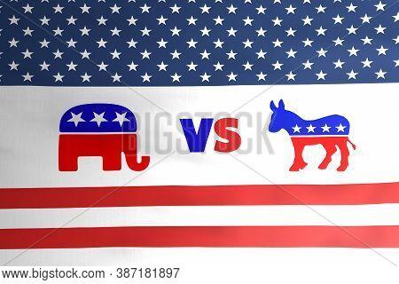 Republican Elephant Vs Democratic Donkey Emblem Icon On American Flag Illustration Design, Usa Presi