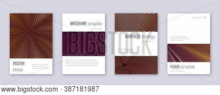 Minimalistic Brochure Design Template Set. Gold Abstract Lines On Bordo Background. Astonishing Broc