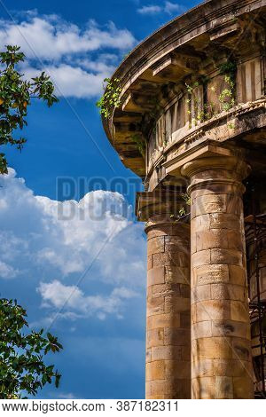 Lucca Old Aqueduct Ruins. The Stone Temple-cistern With Doric Columns Built In Neoclassical Style In