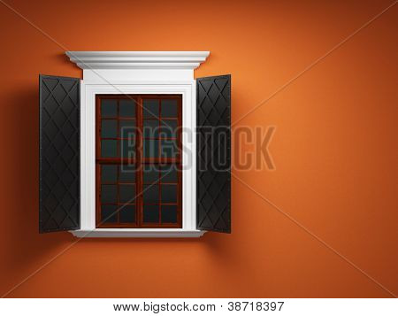 Vintage window on orange cement wall poster