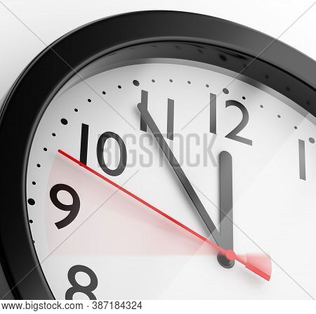 Five Minutes To Twelve: Midnight Or Noon. Black Plastic Office Clock On White Wall. 3d Illustration