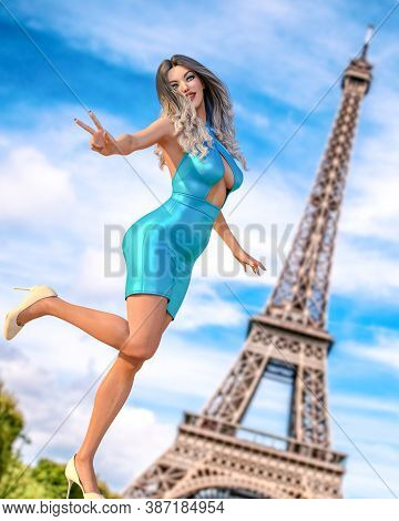 Beautiful Woman In Short Evening Dress Background Of Eiffel Tower In Paris.long Hair.girl Poses For