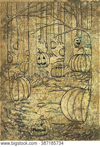 Hand Drawn Line Art Illustration With Path Or Trailway, Scary Pumpkin Head And Lanterns Hiding Behin