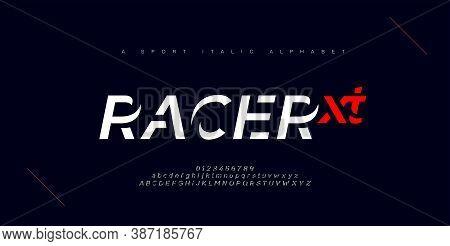 Sport Modern Urban Italic Alphabet Fonts. Typography, Abstract Technology, Fashion, Digital, Future
