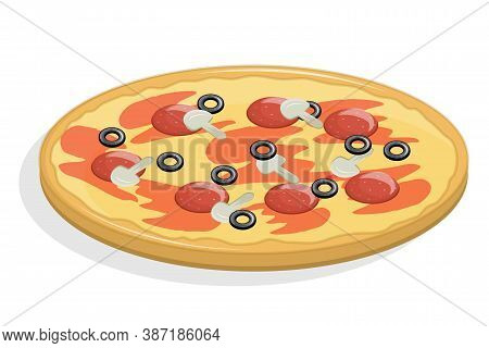 Flavorful Pizza Isolated On A White Background. Vector Illustration In Flat Cartoon Style. Pizza Wit