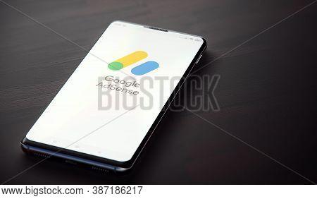 Kyiv, Ukraine-june, 2020: Google Adsense Mobile Application On The Smartphone Screen. Close-up Studi