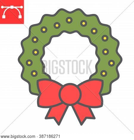 Christmas Wreath Color Line Icon, Merry Christmas And Xmas, Christmas Decorative Sign Vector Graphic