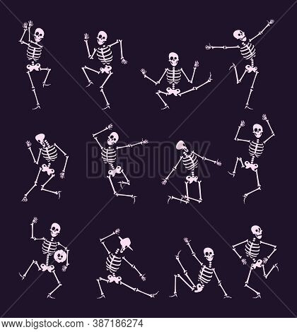 Skeleton Party. Undead With Skull And Bones Halloween Dancer In Funny Poses Vector Characters Collec