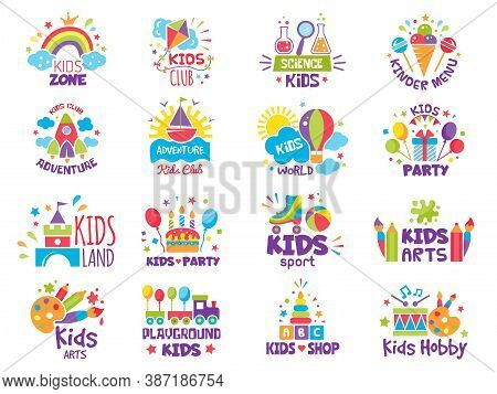 Kids Zone Badges. Logos For Creative Place For Childrens Playgrounds Or Toys Shop Vector Symbols. Il