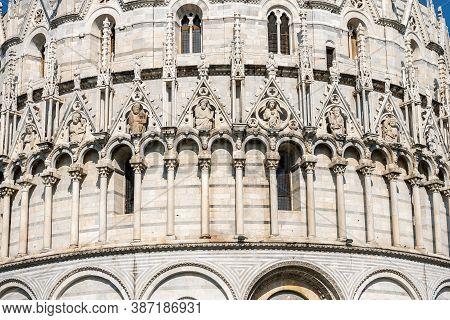 Closeup Of The Pisa Baptistery (battistero Di San Giovanni) In Romanesque Gothic Style, Piazza Or Ca