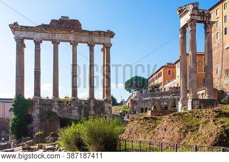 Roman Forum, Rome, Italy. View On Roman Forum On Sunny Day