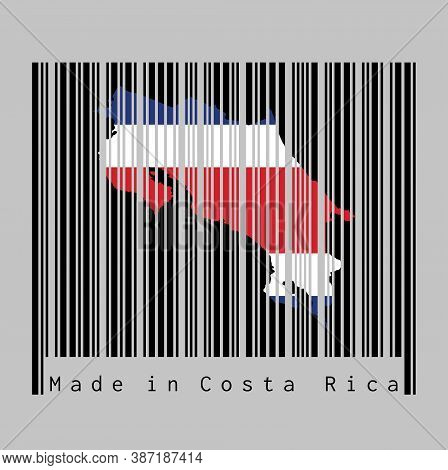 Barcode Set The Shape To Costa Rica Map Outline And The Color Of Costa Rica Flag On Black Barcode Wi