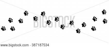 Animal Steps Trail. Pets Foot Prints, Cat Or Dog Road Vector Illustration. Foot Pet Print, Animal St