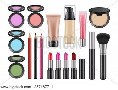 Realistic Decorative Cosmetics. Lipstick, Blush Concealer Pencils Isolated Vector Set. Makeup Cosmet