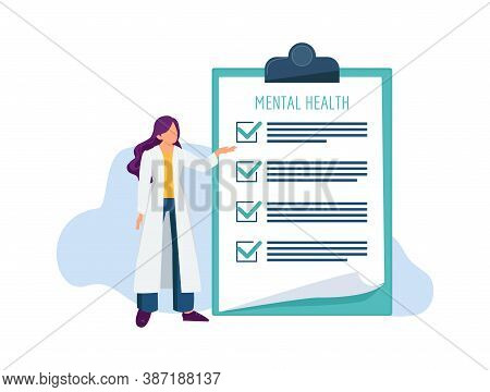 Psychotherapist With Check List. Mental Health Examination, Doctor And Treatment Document Vector Ill
