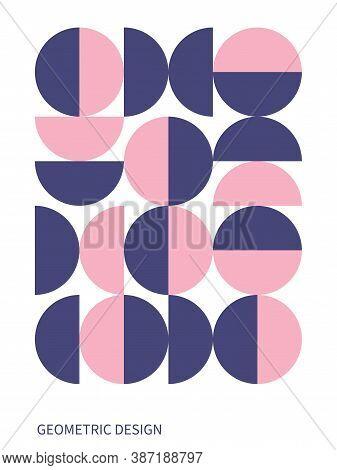 Trendy Bauhaus Pattern. Bauhaus Poster. Vector Geometric Abstract Circle Shapes. Simple Modern Desig