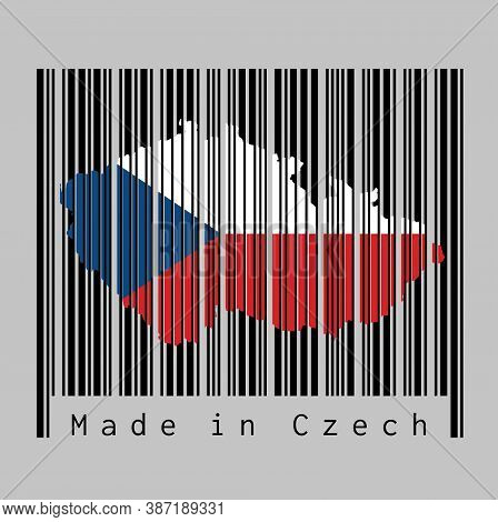 Barcode Set The Shape To Czech Map Outline And The Color Of Czech Flag On Black Barcode With Grey Ba