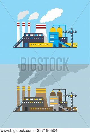 Environmental Contamination And Harmless Industry - Vector Illustration Industrial Factory In Flat S