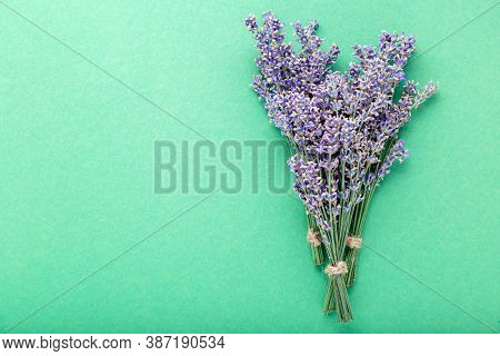 Fresh Lavender Flower Bouquet On Color Background With Copy Space. Place For Text. Flatlay Purple He