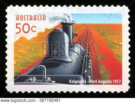 Australia - Circa 2004: A Used Postage Stamp From Australia, Commemorating The Train Service Between
