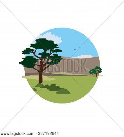 Pampas Savanna Argentina - Savanna Biome - Landscape In Circle - Flat Vector Isolated