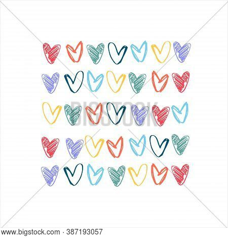 Print With Pastel Rainbow-colored Hearts. Lgbt Concept