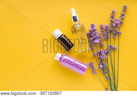 Bouquet Of Lavender Flowers And Set Lavender Skincare Cosmetics Products. Natural Spa Beauty Product
