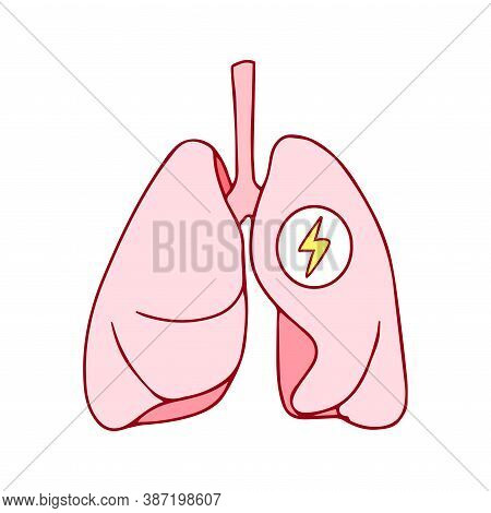 Human Healthy Respiratory System, Lungs Icon With An Energy Sign. Breathing Oxygen Concept