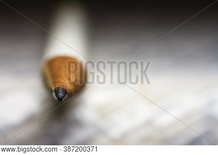 Extreme Close Up Shot Of Wooden Pencil Tip, Shallow Depth Of Field.